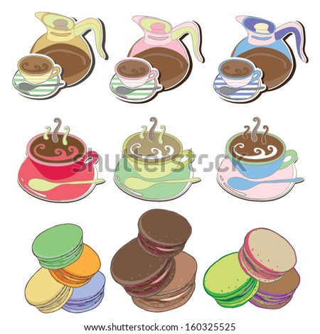 Coffee and tea and Macaroons Vector illustration - stock vector