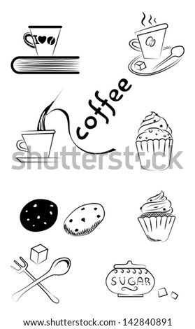 Coffee and tea cups black ink vector illustration