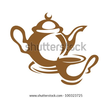 Coffee and tea dishware, such logo. Jpeg version also available in gallery - stock vector