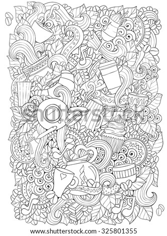 Coffee and tea doodle background in vector with paisley. Ethnic zentangle pattern can be used for menu, wallpaper, pattern fills, coloring books and pages for kids and adults. Black and white. - stock vector