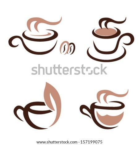 coffee and tea - icon set - stock vector