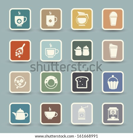 Coffee and tea Icons  - stock vector
