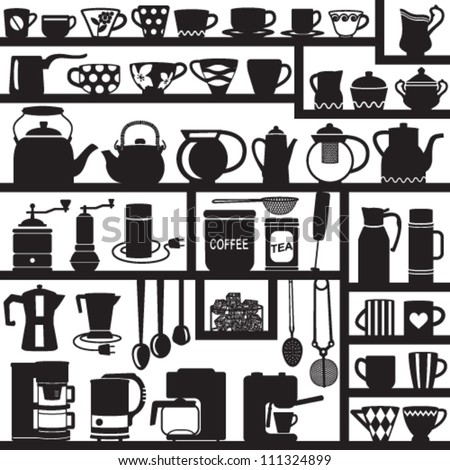 Coffee and tea related silhouettes - stock vector