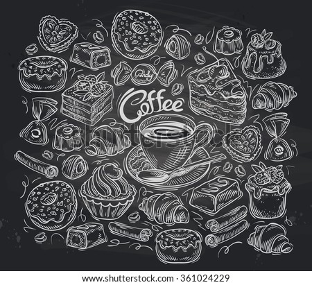 Coffee and tea set of vector elements hand-drawn - stock vector