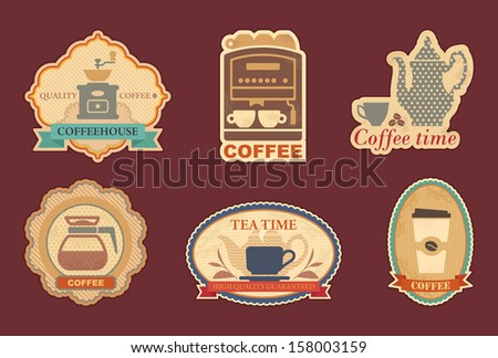 Coffee and tea stickers - stock vector