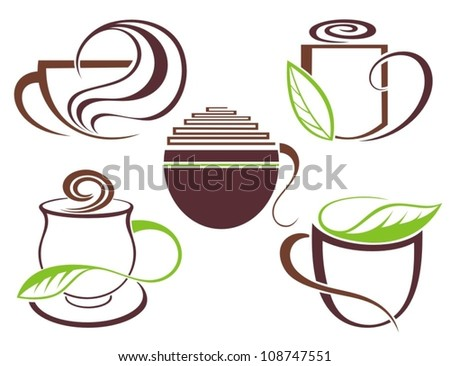 Coffee and tea symbols and icons for food design - stock vector