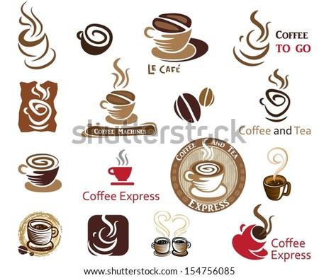 Coffee and Tea. Vector icon collection.  - stock vector