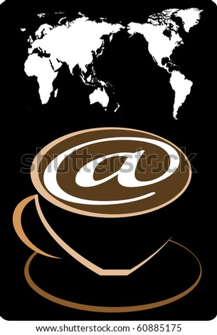 coffee and the world map - stock vector