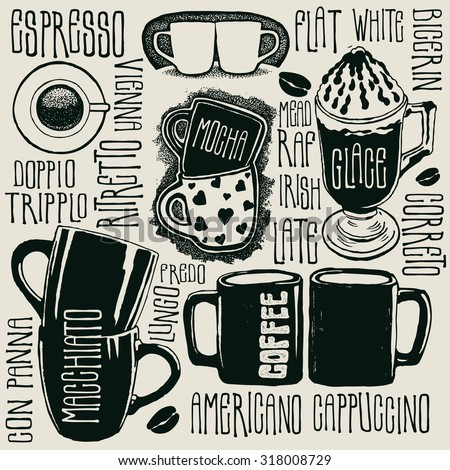 Coffee and typography background. design elements. vector illustration. - stock vector