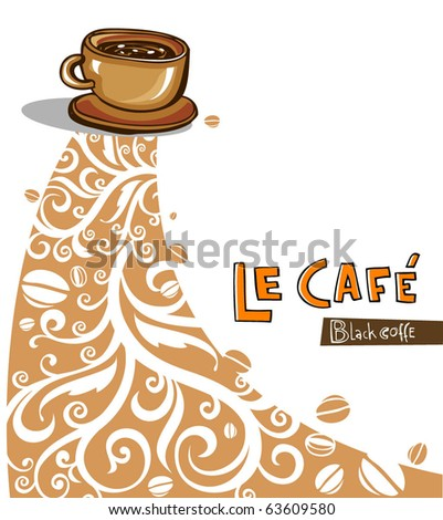 Coffee Background. Illustration which may be used as menu cover or card - stock vector