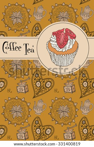 coffee background. menu - stock vector