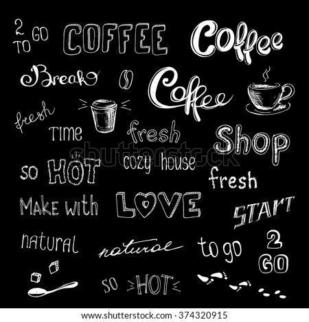 coffee background or icon,hand drawn vector illustration - stock vector