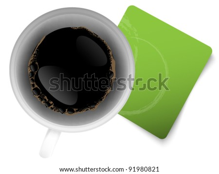 Coffee background with green paper - space for text - stock vector