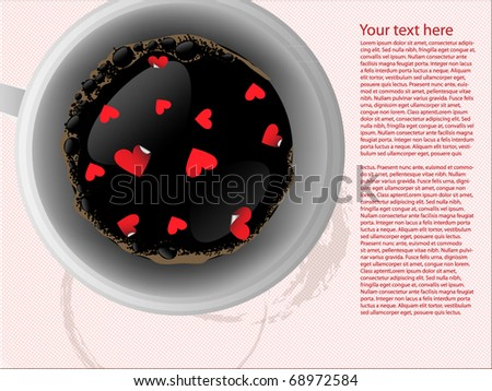 Coffee background with hearts - stock vector