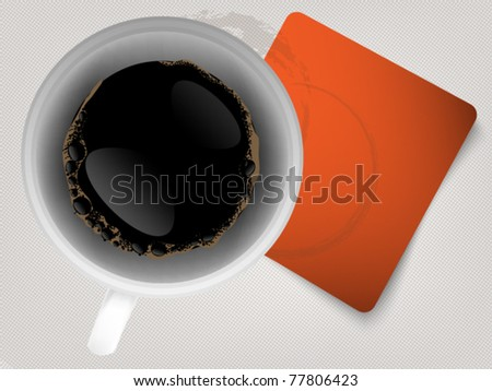 Coffee background with orange paper - space for text - stock vector