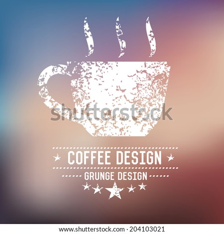 Coffee badge grunge symbol on blur background,vector - stock vector