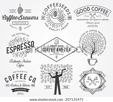 Coffee badges black - stock vector