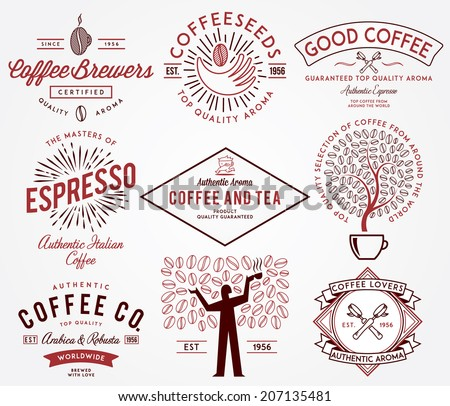 Coffee badges colored - stock vector