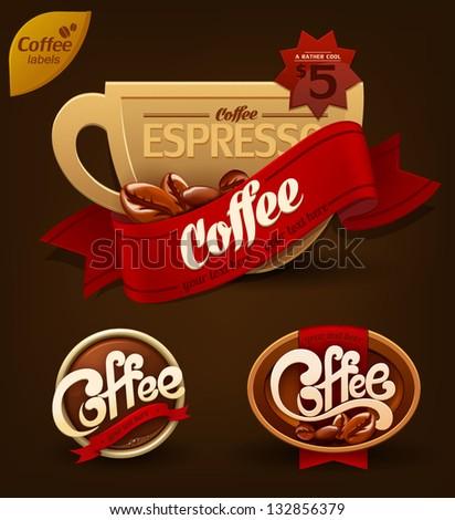 Coffee badges set. Vector - stock vector