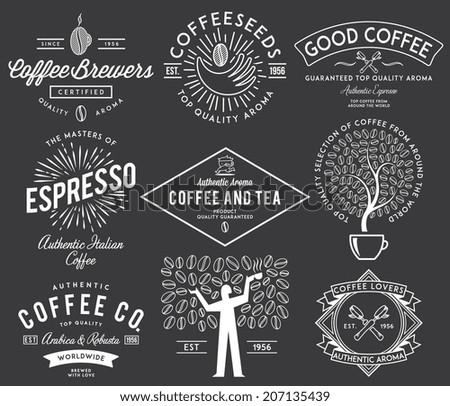 Coffee badges white - stock vector
