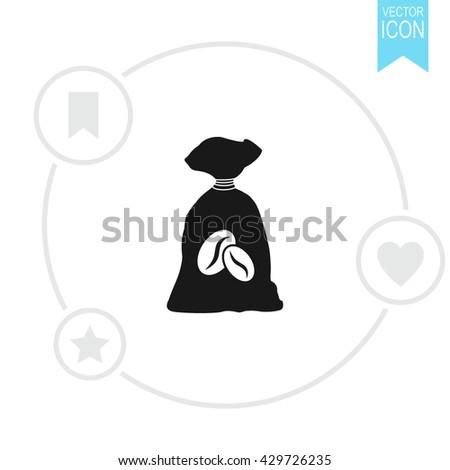 Coffee bag vector icon. - stock vector