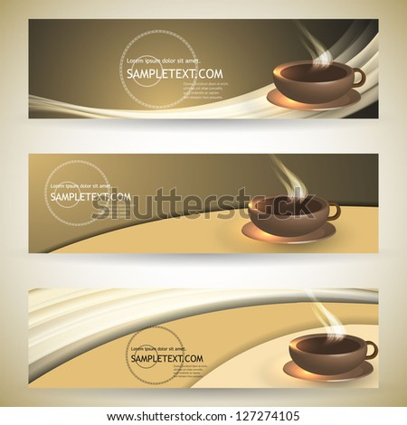 Coffee banners with space for text - stock vector