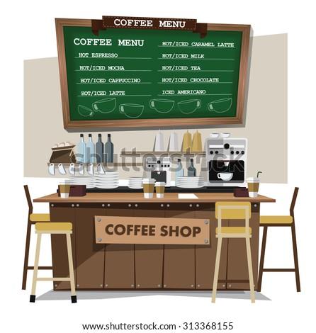 coffee bar, coffee shop. Flat style illustration. EPS 10 vector. - stock vector