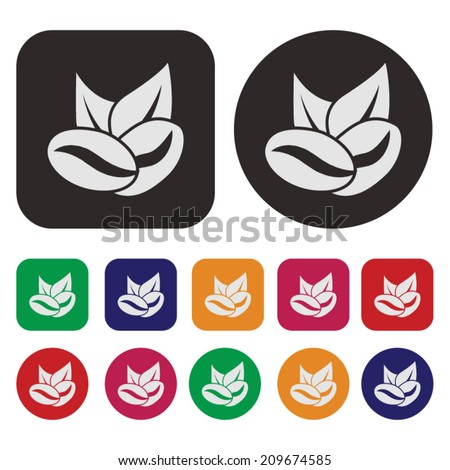 Coffee bean icon / Coffee seed icon / Coffee icon - stock vector