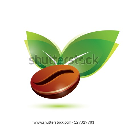 coffee bean natural, stylized vector icon - stock vector