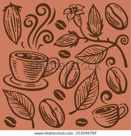 Coffee beans, cups and leaves seamless pattern - stock vector