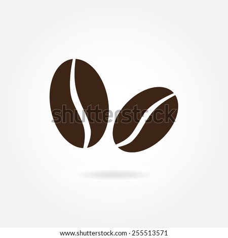 Coffee beans icon or sign isolated on white background. Vector illustration. - stock vector