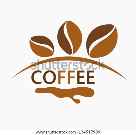 Coffee beans logo design. Vector illustration - stock vector