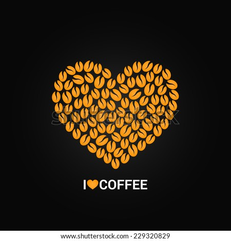 coffee beans love concept background - stock vector