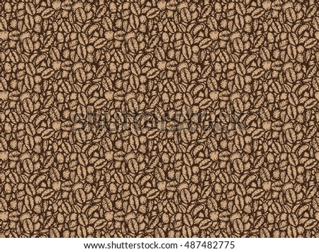 Coffee beans pattern by hand drawing.Coffee bean background vector