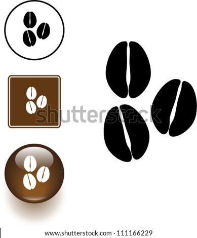 coffee beans symbol sign and button - stock vector