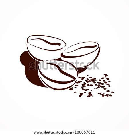 Coffee beans. Vector illustration. - stock vector