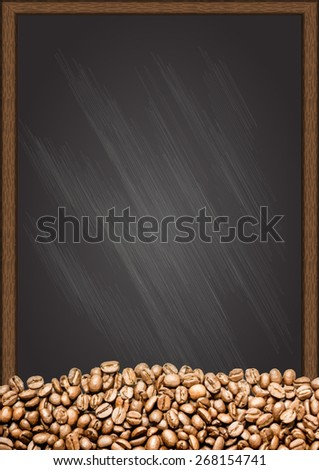 Coffee beans with chalkboard background. - stock vector