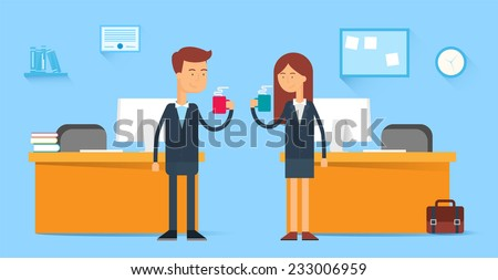 Coffee break, male and female characters in the office, flat style   - stock vector