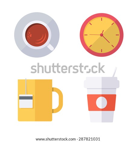 Coffee break or tea time icons. Modern flat design. Vector collection. - stock vector