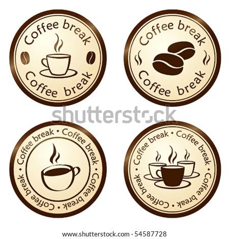 coffee break stamps set - stock vector