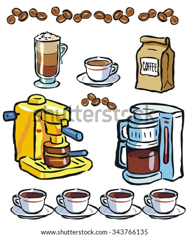 Coffee, brewers, and variations - stock vector