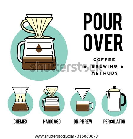 Coffee brewing methods. Pour over. Different ways of making hot energy drink. Stylish vector illustration and modern design element - stock vector