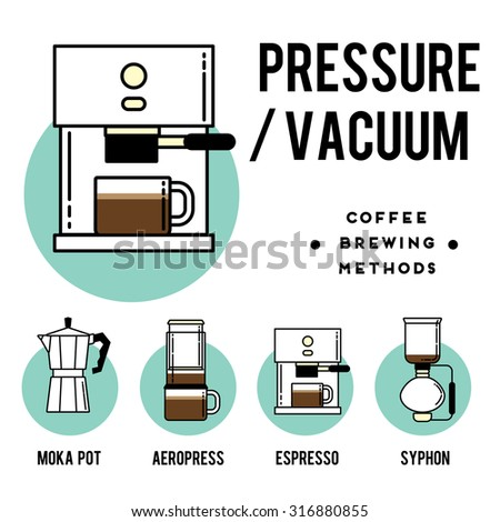 Coffee brewing methods. pressure or vacuum. Different ways of making hot energy drink. Stylish vector illustration and modern design element  - stock vector