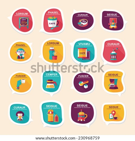 Coffee bubble speech flat banner design flat background set, eps10