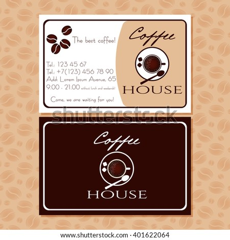 Coffee business cards advertising cafe handbill stock vector coffee business cards for advertising of cafe handbill with coffee cup logo and contact information colourmoves