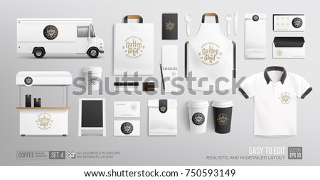Coffee, Cafe, Food Truck - Branding corporate identity Mockup. Realistic MockUp set of lettering logo, food delivery truck, uniform, food cart, street menu, paper pack. Coffee, Fast food package
