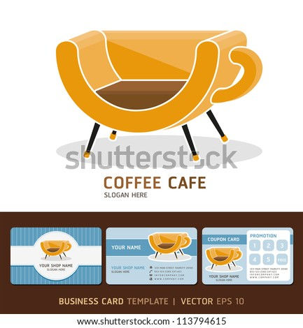 Coffee cafe icon logo and business cards design. Vector illustration. EPS 10 - stock vector