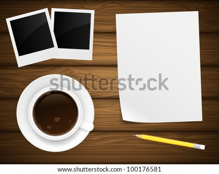 Coffee cap, white paper, photo frame and yellow pencil on wooden background. Vector illustration. - stock vector