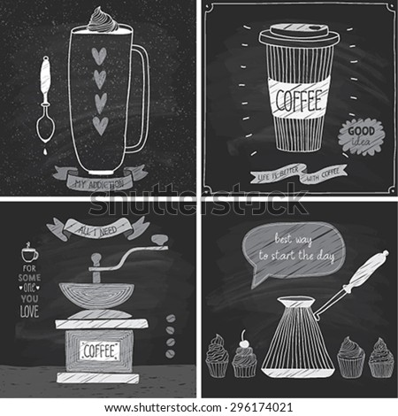 Coffee cards - Chalkboard style. Vector illustration. - stock vector
