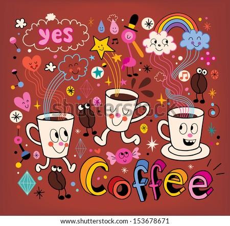 Coffee cartoon illustration - stock vector
